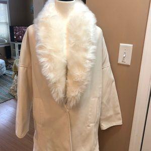 Jackets & Blazers - Winter white faux collar coat